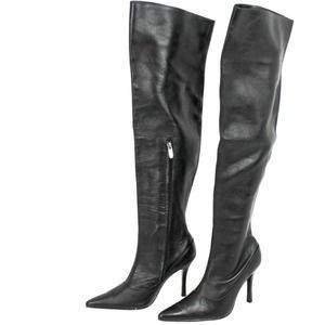 Colin Stuart Black Leather Over The Knee Boots
